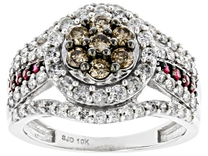 Champagne & White Diamond And Red Burmese Ruby 10K White Gold Cluster Ring 1.45ctw