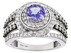 Blue Tanzanite And Champagne & White Diamond 10K White Gold Ring 2.20ctw