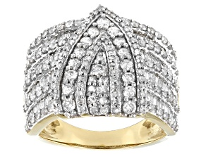 White Diamond 10K Yellow Gold Cocktail Ring 1.99ctw