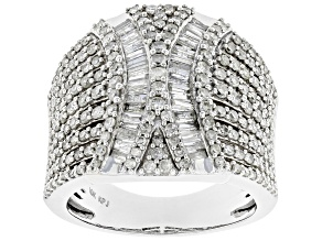 White Diamond 10K White Gold Cocktail Ring 1.75ctw