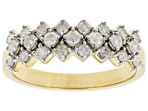 White Diamond 10K Yellow Gold Band Ring 0.50ctw
