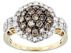 Champagne & White Diamond 10K Yellow Gold Cluster Ring 1.48ctw