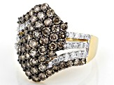 Champagne & White Diamond 10K Yellow Gold Cluster Ring 2.33ctw