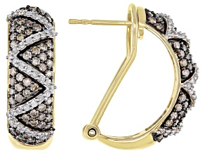 Champagne & White Diamond 10K Yellow Gold J-Hoop Earrings 1.45ctw