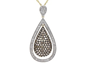 Champagne & White Diamond 10K Yellow Gold Cluster Pendant With Chain 2.00ctw