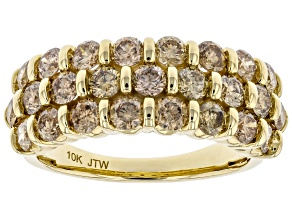 Champagne Diamond 10K Yellow Gold Wide Band Ring 2.00ctw