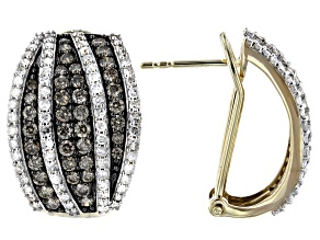 Champagne And White Diamond 10k Yellow Gold J-Hoop Earrings 2.20ctw