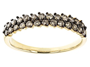 Champagne Diamond 10K Yellow Gold Band Ring 0.60ctw