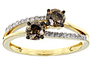 Champagne And White Diamond 10K Yellow Gold 2-Stone Ring 0.79ctw