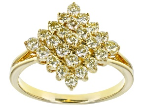 Natural Yellow Diamond 10K Yellow Gold Cluster Ring 0.95ctw