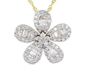 White Diamond 10K Yellow Gold Flower Pendant With Chain 1.00ctw