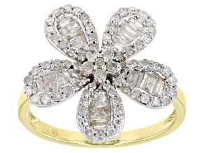 White Diamond 10K Yellow Gold Flower Cocktail Ring 0.90ctw