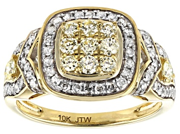 Picture of Natural Yellow And White Diamond 10K Yellow Gold Cluster Ring 1.00ctw