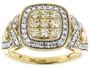 Natural Yellow And White Diamond 10K Yellow Gold Cluster Ring 1.00ctw