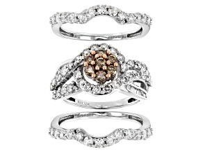 Champagne And White Diamond 10K White Gold Cluster Ring With 2 Bands 2.45ctw