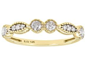 White Diamond 10K Yellow Gold Band Ring 0.35ctw
