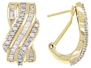 White Diamond 10K Yellow Gold J-Hoop Earrings 1.85ctw