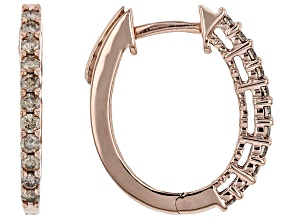 Champagne Diamond 10K Rose Gold Hoop Earrings 0.50ctw