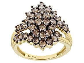 Champagne Diamond 10K Yellow Gold Cluster Ring 2.10ctw
