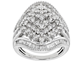 White Diamond 10K White Gold Cluster Ring 2.00ctw