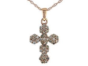 Champagne Diamond 10K Rose Gold Cross Pendant With Chain 0.50ctw