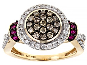Champagne & White Diamond And Red Burmese Ruby 10K Yellow Gold Cluster Ring 0.85ctw