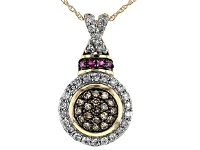 Champagne & White Diamond With Red Burmese Ruby Accents 10K Yellow Gold Pendant With Chain 0.55ctw