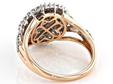 White Diamond 10k Rose Gold Cluster Ring 1.00ctw