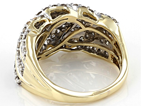 Diamond 10k Yellow Gold Wide Band Ring 1.00ctw