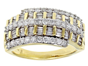 White Diamond 10k Yellow Gold Wide Band Ring 1.00ctw