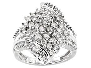 White Diamond 10k White Gold Cluster Ring 1.50ctw