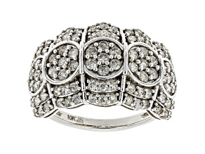 White Diamond 10k White Gold Wide Band Ring 1.50ctw