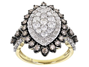 White And Champagne Diamond 10k Yellow Gold Cluster Ring 2.00ctw