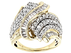 White Diamond 10k Yellow Gold Crossover Ring 2.00ctw