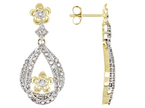 White Diamond 10k Yellow Gold Flower Teardrop Earrings 1.00ctw