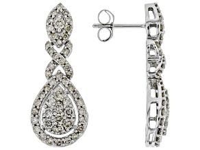 Diamond 10k White Gold Dangle Earrings 1.50ctw