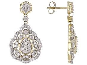 White Diamond 10k Yellow Gold Dangle Earrings 1.50ctw