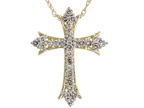 "Diamond 10k Yellow Gold Cross Pendant With 18"" Rope Chain 0.50ctw"