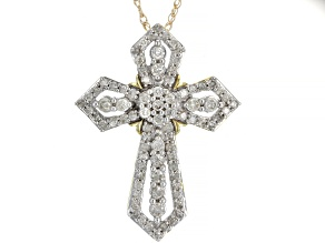 "White Diamond 10k Yellow Gold Cross Pendant With 18"" Rope Chain 1.00ctw"