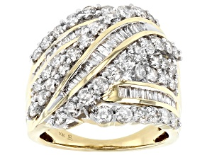 White Diamond 10k Yellow Gold Crossover Ring 3.00ctw