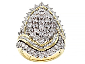 White Diamond 10k Yellow Gold Cluster Ring 4.00ctw