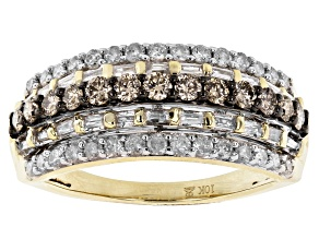 Champagne And White Diamond 10k Yellow Gold Multi-Row Ring 1.00ctw