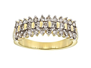 White Diamond 10k Yellow Gold Band Ring 0.75ctw