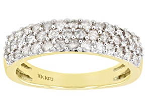 White Diamond 10k Yellow Gold Multi-Row Band Ring 0.75ctw