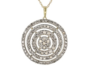 "Diamond 10k Yellow Gold Cluster Pendant With 18"" Rope Chain 2.05ctw"