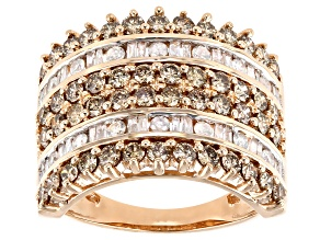 Champagne And White Diamond 10k Rose Gold Multi-Row Ring 2.00ctw