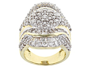 Diamond 10k Yellow Gold Cluster Ring 4.15ctw