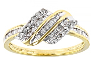 White Diamond 10k Yellow Gold Crossover Ring 0.40ctw