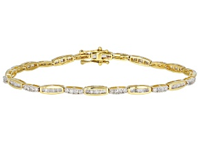 White Diamond 10k Yellow Gold Tennis Bracelet 1.55ctw