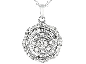 "White Diamond 10k White Gold Cluster Pendant With 18"" Rope Chain 0.50ctw"